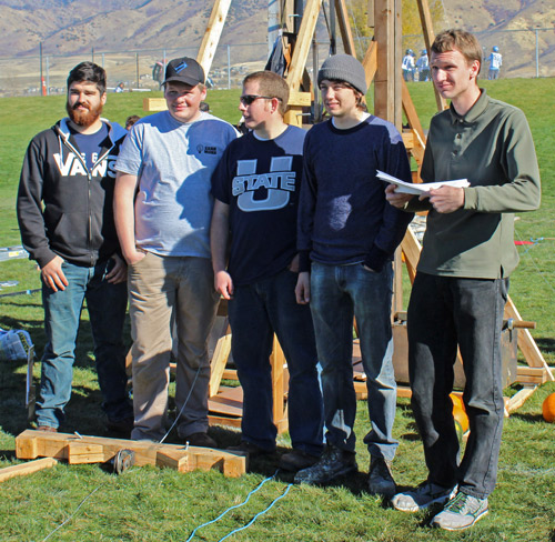 GANDALF's BEARD! Mechanical engineering students Miguel Beal, Josh Kapp, Robert Berry, Parker Dahl and Spencer Mathis with their prize-winning trebuchet. (Jaesea Gatherum photo)