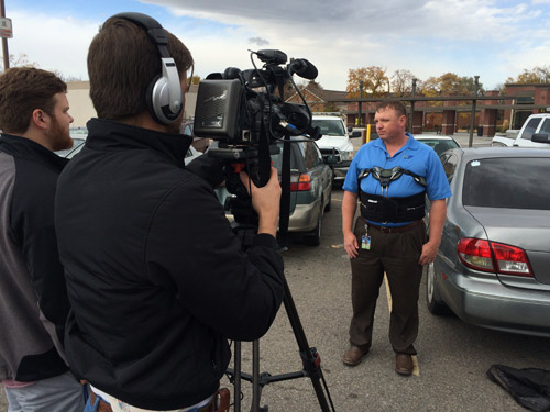 CVTD director Todd Beutler talks to press after bomb squad destorys suspicious laptop. (Erin West photo)
