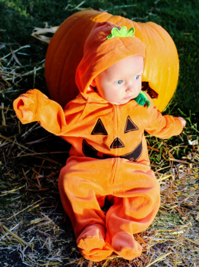 Three-month-old Skyla Winters is the cutest jack-o'-lantern at the Pumpkin Walk. (Jaesea Gatherum photo)