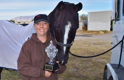 BERC member Stacey Hess and her horse Java after placing in a 3-phase eventing show in Grantsville.