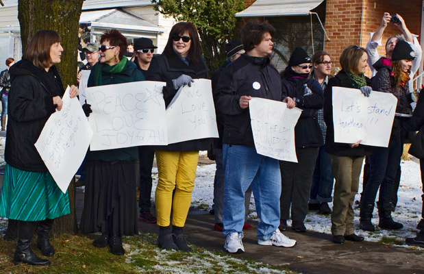 STAND TOGETHER! SOme 150 Logan residents turned out to show their support of local Muslims. (Morgan Pratt photo)